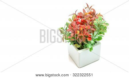 Vases Of Flowers, Artificial Orange And Green Flower Bouquet With White Vase Isolated On White Backg