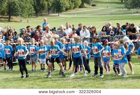 Stockholm - Sept 08, 2019: Children Warming Up Before The Prins Daniel Race During The Generation Pe