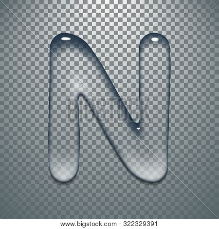 Water Typeface With Transparent Pattern Letter A Of A Latin Font. Vector Lettering Alphabet Characte