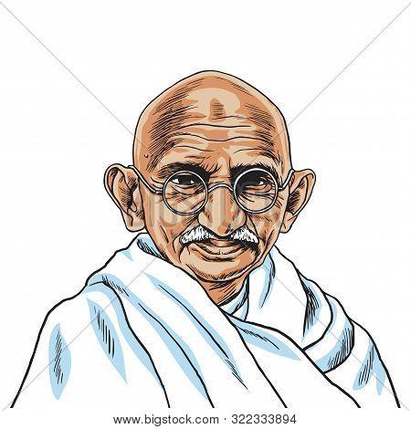 Mahatma Gandhi Cartoon Vector Portrait Drawing. Hand Drawn Illustration. New Delhi, September 16, 20