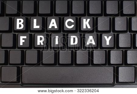 Words black friday on computer keyboard