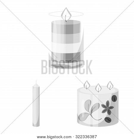 Isolated Object Of Paraffin And Fire Sign. Set Of Paraffin And Decoration Stock Symbol For Web.