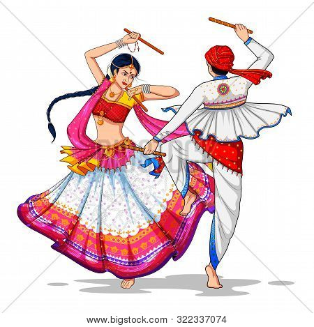 Illustration Of Couple Playing Dandiya In Disco Garba Night Banner Poster For Navratri Dussehra Fest