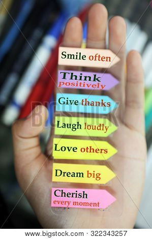 Positive Words In Hand. Todays Goals List. Morning Inspirational Words - Smile Often. Think Positive