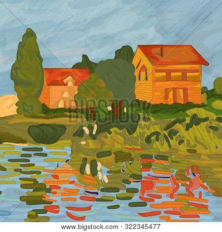 """Houses in Claude Monet style. Digital element of the painting """"Regatta in Argenteuil"""" by Claude Monet (1872). Impressionism style. Vector. poster"""