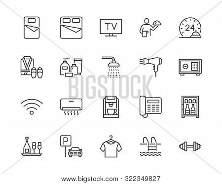 Hotel Room Facilities Flat Line Icons Set. Double Bed, Reception, Room Service, Bathrobe, Slippers,