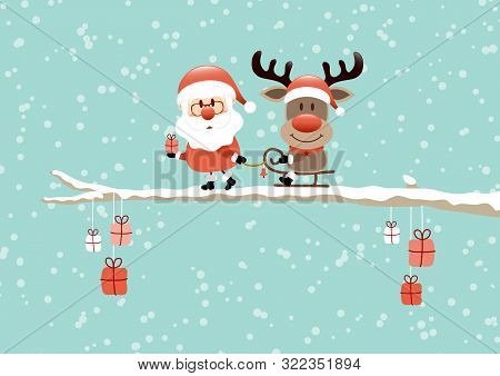 Santa Pulling Sleigh With Reindeer On Bough Turquoise