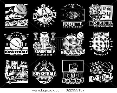 Vector Icons Of Basketball Ball, Scoreboard And Champion Cup, Streetball Game Shoes With Wings And W