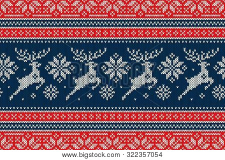 Winter Holiday Knitting Pattern With Christmas Reindeer And Snowflakes. Scheme For Wool Knit Christm
