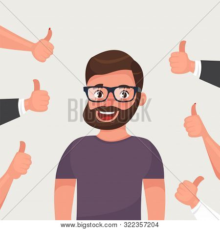 Cheerful Hipster Bearded Young Man Surrounded By Hands Demonstrating Thumbs Up Gesture. Public Appre