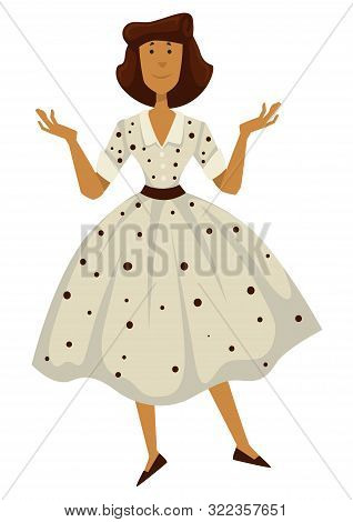Woman In Polkadot Dress, 1950s Fashion Style. Isolated Female Character
