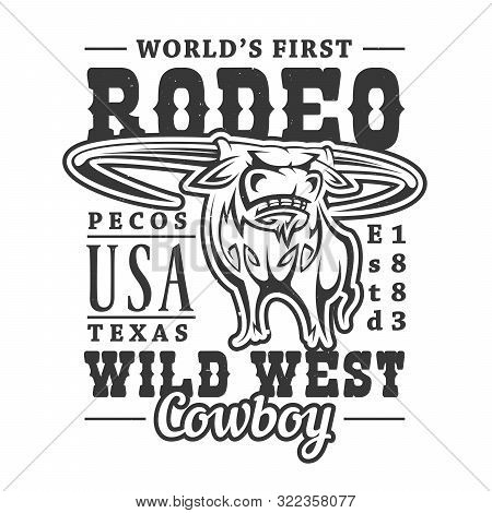 Cowboy Rodeo, American Western Longhorn Bull T-sirt Print. Vector Wild West Texas Rider Sport, T-shi