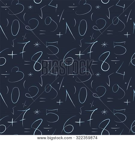 Mathematical Blue Background. Hand Drawn By A Thin Line Numbers And Mathematical Signs And Symbols.
