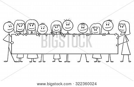 Vector Cartoon Stick Figure Drawing Conceptual Illustration Of Group Of Smiling Kids Or Children, Bo