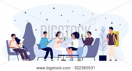 Hostel Lounge Concept. Happy Young People Flat Characters, Tourist. Lounge Room Vector Illustration.