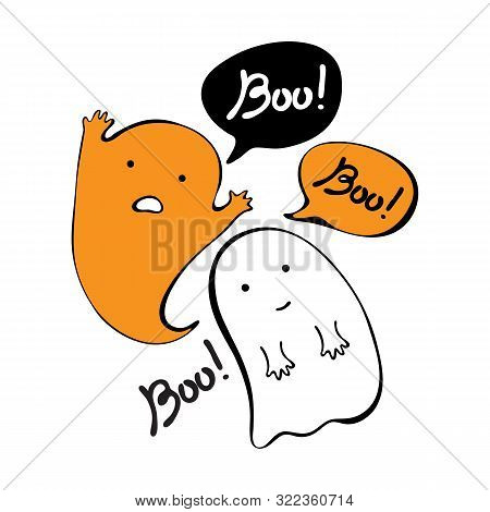Flying Ghost Spirit Holding Says Boo. Happy Halloween. Scary White Ghosts. Cute Cartoon Spooky Chara