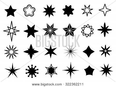 Star Shapes Set. Different Stars Black Silhouettes, Christmas Sparkle Geometric Symbols And Sheriff