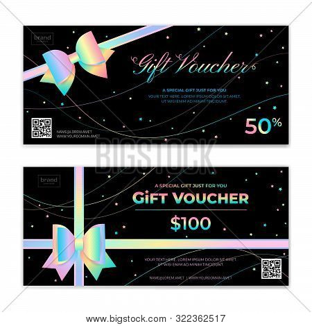 Gold Theme Gift Voucher, Certificate, Coupon For Festive Season