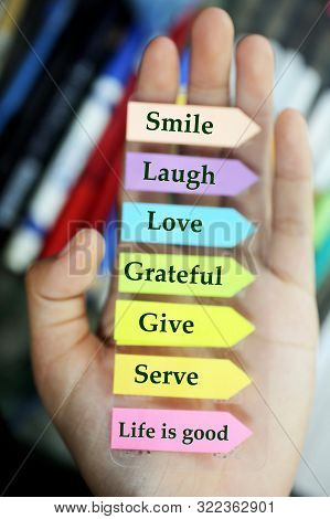 Positive Words In Hand. Todays Goals List. Morning Inspirational Words - Smile. Laugh. Love. Gratefu