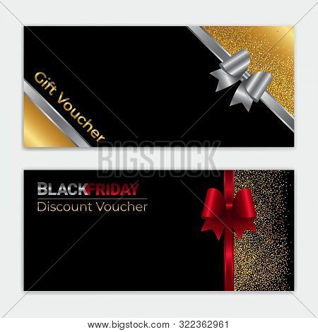 Gold Glitter Gift Voucher, Certificate, Coupon For Festive Season Ie Black Friday, New Year