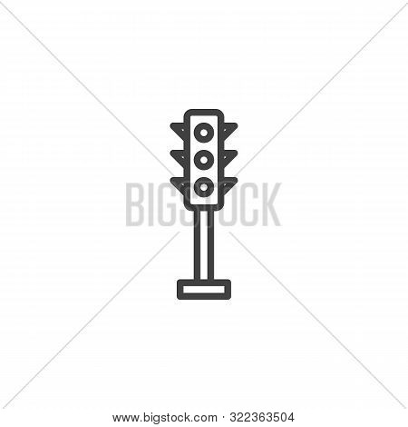 Traffic Light Line Icon. Linear Style Sign For Mobile Concept And Web Design. Stoplight Outline Vect