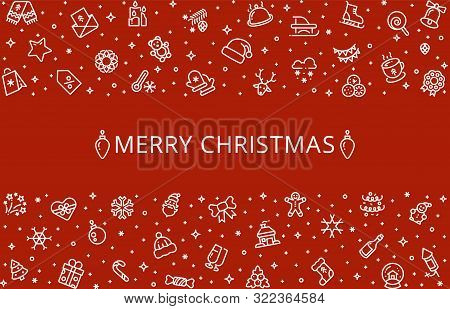 Christmas Background. Holiday Banner, Christmas Card With Borders. Winter Line Icons, Vector Festive