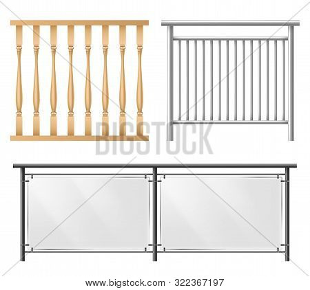 Wooden, Metallic, Glass Railings, Fence Section For Home Stairways, House Balcony, Sidewalk Fencing