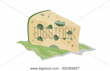 Ripe Aged Cheese With Mold. Wedge Of Roquefort, Gorgonzola, Stilton Served On Green Napkin. Vector C