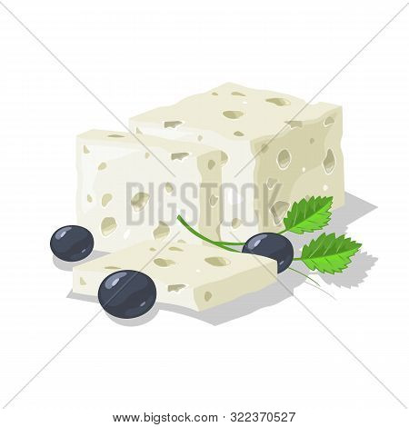 Delicious Blue, Brined Or Pickled Porous Cheese Cutted To Slices, Served With Olives And Greenery. M