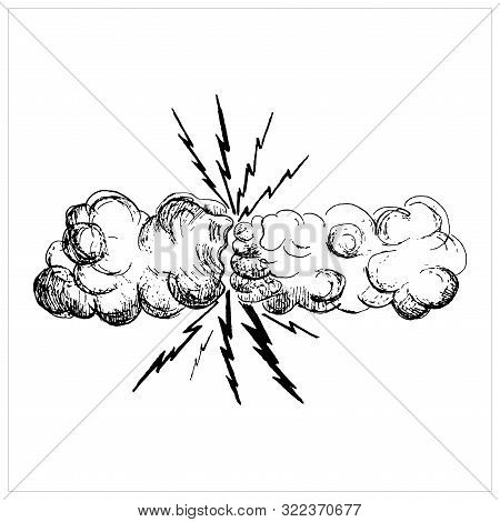 Thunderstorm Vector, Vector Sketch Illustration Two Clouds, Two Hands, Thunderstorm, Cartoon Thunder