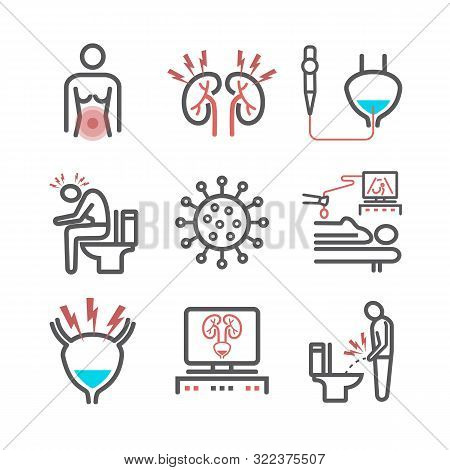 Cystitis Line Icons. Symptoms, Treatment. Vector Signs For Web Graphics.