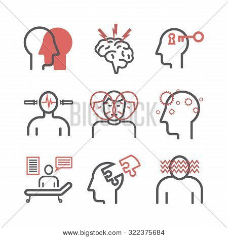 Schizophrenia Line. Symptoms, Treatment. Icons Set. Vector Signs For Web Graphics.