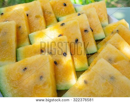 Closeup - Organic Yellow Watermelon Triangles,healthy Eating, Vegetarian Nutrition