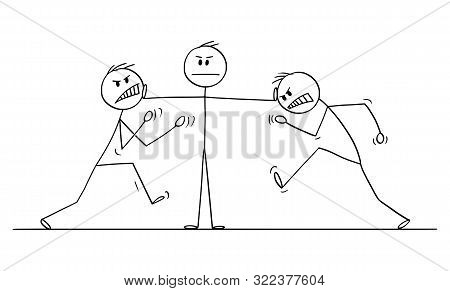 Cartoon Stick Figure Drawing Conceptual Illustration Of Man, Businessman Or Manager Or Leader Stoppi