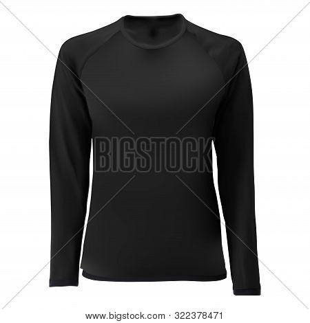 Long Sleve T Shirt Design. Front View Vector Blank. Women Or Man Tshirt. Soccer Undershirt Uniform.