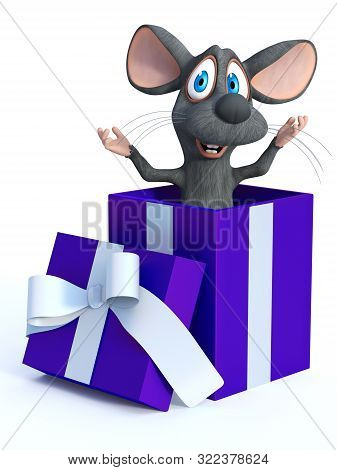 3d Rendering Of A Cute Smiling Cartoon Mouse Popping Out Of A Gift Box Ready To Surprise. White Back
