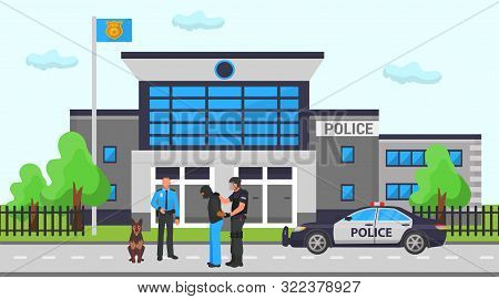 Police Office Station Vector Illustration. Two Cops, Dog And Police Car On Road In Front Of Departme