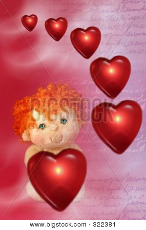 Photo Of Red Floating Hearts And Little Cupid Dollar With Green