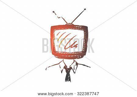 Mass Media Addiction Concept Sketch. Information Propaganda, Social Manipulation, Mind Control, Brai