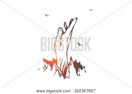 Liberty, Autonomy, Determination Concept Sketch. Human Hand Breaks Through Ground, Breaking Free, Ov
