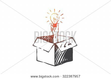 Thinking Outside Box Concept Sketch. Human Hand In Packaging Holding Glowing Light Bulb, Creative Id
