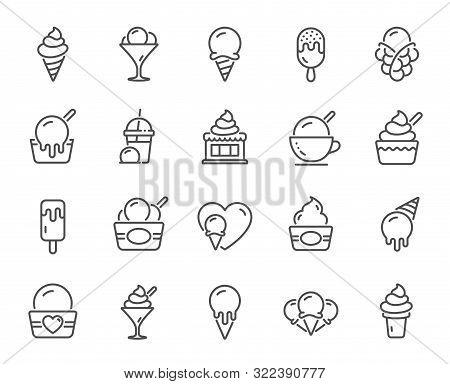 Ice Cream Line Icons. Vanilla Sundae, Frozen Yogurt, Bubble Waffle. Sweet Dessert Food, Milkshake Wi
