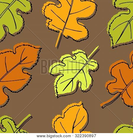 Autumn Seamless Pattern. Repetition Texture Of Leaves Of The Mulberry Tree. Vector Illustration.