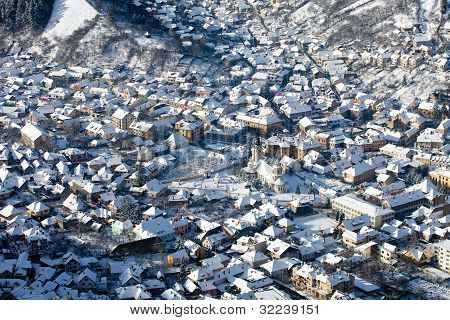 Aerial view of the Saint Nicholas Church and old part of the city called Scheii Brasov Romania poster