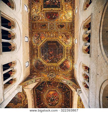 Bari, Puglia, Italy - April 30, 2019: Inside Interior Of Basilica Of Saint Nicholas Basilica Di San