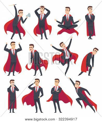Businessman Superheroes. Male Characters In Action Poses Of Superheroes Business Person Vector Carto