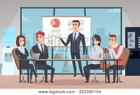 Meeting Office Interior. Business Conference Room With People Managers Working Team Vector Cartoon I