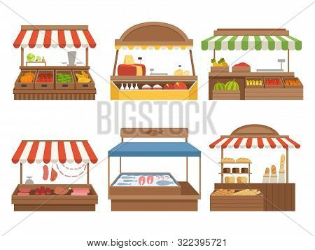 Local Market. Street Food Places Stands Outdoor Farm Vegetables Fruits Meat And Milk Vector Pictures