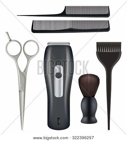 Barbershop Realistic. Barber Tools Hairdresser Beauty Fashion Salon Tools Comb Scissors Blade Vector