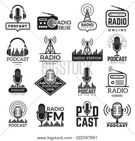 Radio Station Logo. Music Studio Podcast Speaker Vector Badges Collection. Radio Station Logo With A